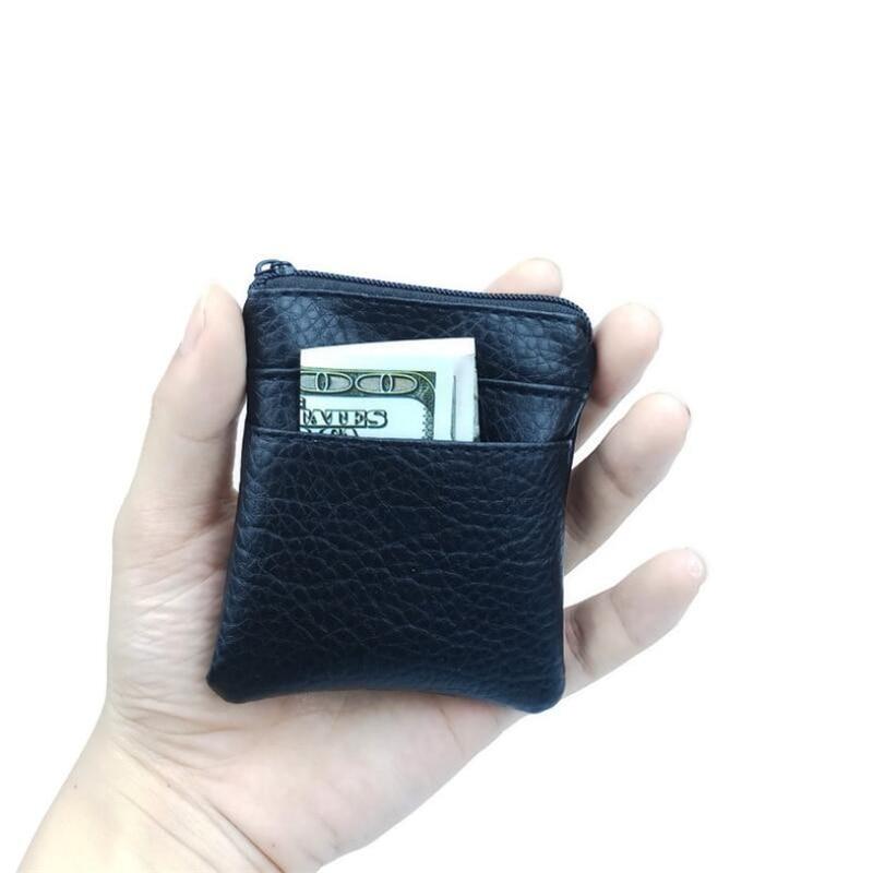 2019 Pu Leather Card Coin Purse Women Men Small Mini Short Wallet Bags Change Zip Credit Card Holder Business Pouch Bag Carteira