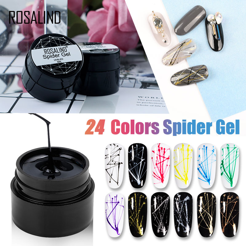 ROSALIND Spider Gel Hybrid Varnishes Nail Art 5ML Metal Vernis UV Lak Design Line Drawing Painting Primer Silk Spider Gel Polish