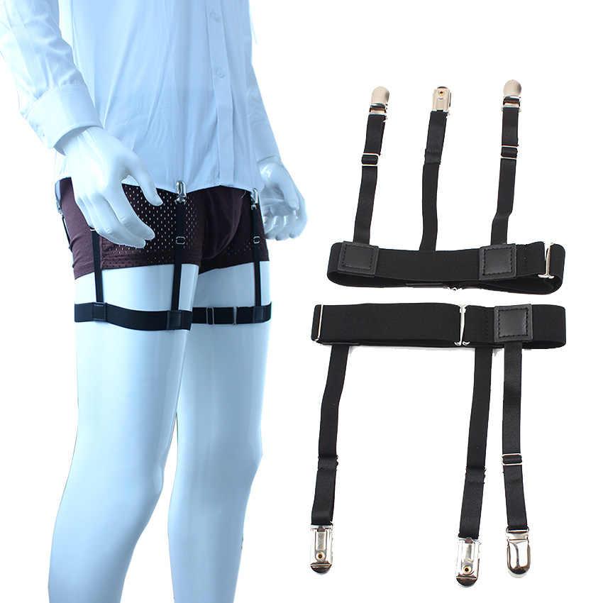 2 шт мужские на ногу подтяжки деловые тиранты Униформа подтяжки рубашка оставайтесь регулируемые подтяжки держатель остается эластичные мужские подтяжки