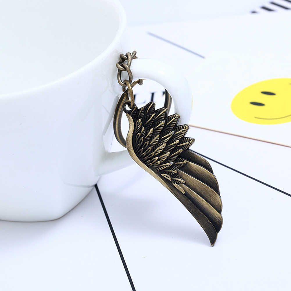 Vintage Feather Wing Pendant Keychain Key Ring Bag Car Hanging Ornament Decor