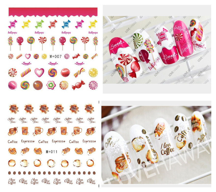 M + 005-011 New Style Candy Watermarking Adhesive Paper Nail Sticker Cake Coffee Watermark Nail Sticker Nail Ornament