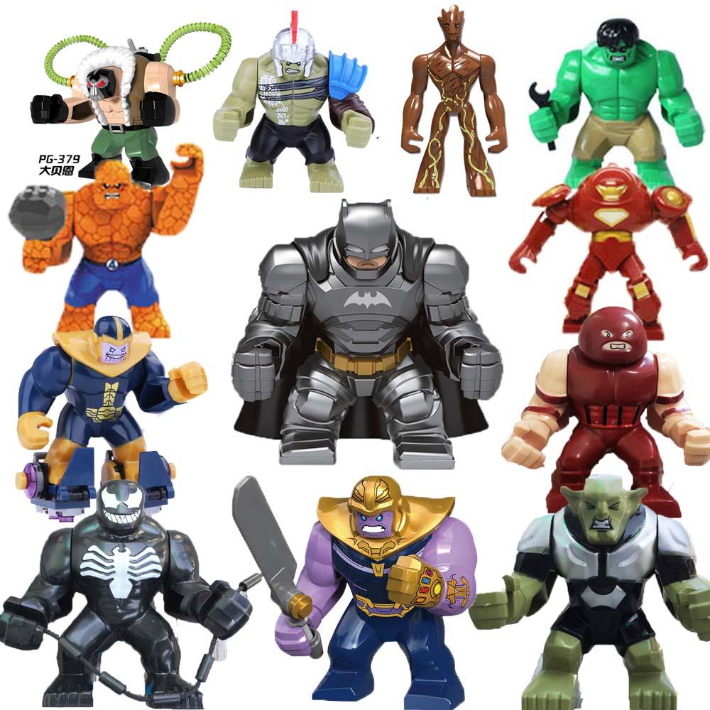 7cm+ Big SizeThanos Hulk Batman Groot Building Blocks Bricks Toys For Children Marveli AVENGERSing 4 Figures Legoingood Duplo
