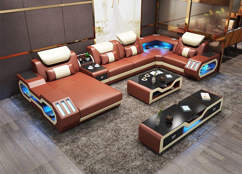 Custom made modern design LED lights Music player living room sofa set leather sofa Custom made modern design LED lights Music player living room sofa set leather sofa