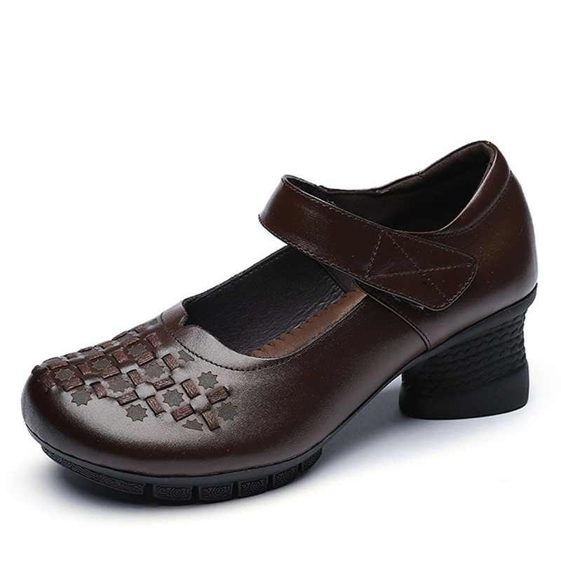 DRKANOL ilkbahar sonbahar yüksek topuklu kadın ayakkabıları pompaları üzerinde kayma bayanlar Retro hakiki deri yuvarlak ayak kadın kalın topuk ayakkabı H8907