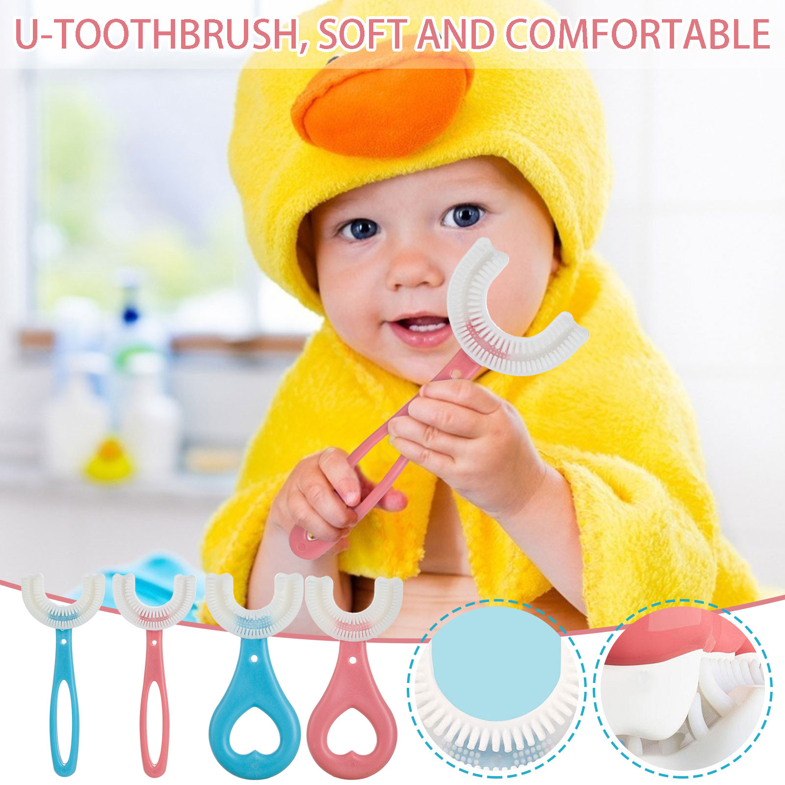 Baby Toothbrush Children 360 Degree U-shaped Toothbrush Teethers Soft Silicone Baby Brush Kids Teeth Oral Care Cleaning 2-12Year