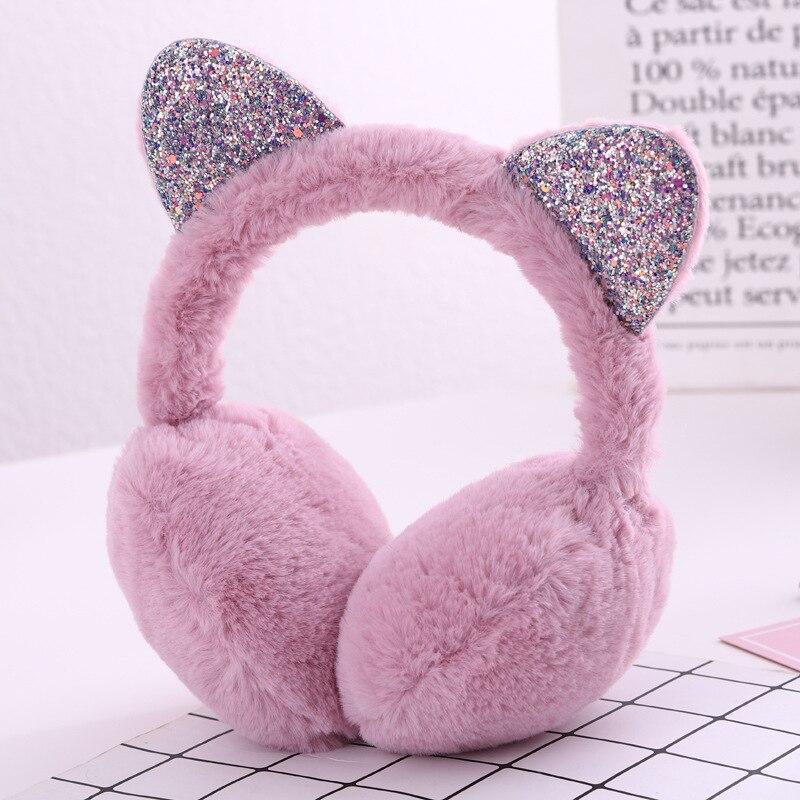 Hang Ear Cover Warm Winter Earmuffs Female Headwear Cartoon Ear Muffs Fur Earmuffs Cold Ear Warmer Fold Ear Protection Headband