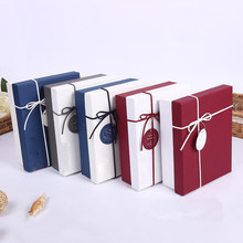 4PCS New Matt pattern leather rope underwear box scarf box wedding candy box European style holiday birthday gift packaging box(China)