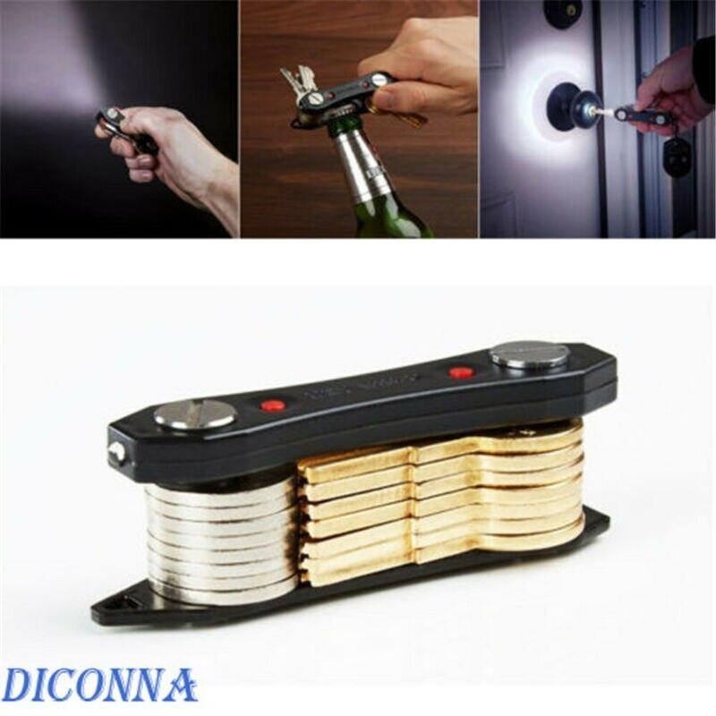 Multifunction Stainless Steel Smart Key Holder Compact Keychain Organizer With LED Lights Mini Flashlight Bottle Opener