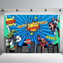 Comics Superhero Avengers Spiderman Photography Backdrop Children 1st Birthday Photo Backdrop Prop Studio Backdrop Background free shipping angel digital kids studio photography background backdrop 5x10ft baby children fabric backdrop a 1190