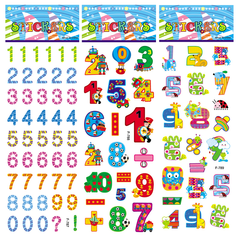 10 Sheets Number Letter Decals Sticker Not Repeat 3D Bubble Puffy Cartoon Stickers Children Kids Toys Boy Diary Stationery Album