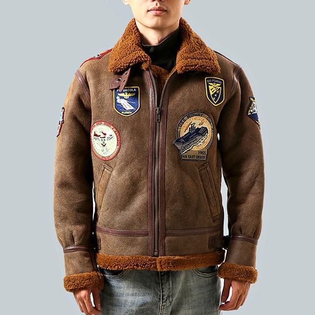 Seveyfan 정품 가죽 파일럿 ma 1 폭격기 재킷 겨울 양털 따뜻한 오토바이 타는 사람 진짜 양피 가죽 자켓 남성 r2954