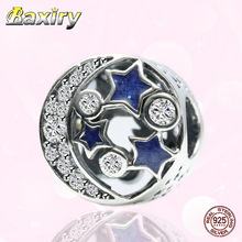 Charms Bracelet DIY Blue 100% 925 Sterling Silver Round Beads Fit Bracelet Charms Silver 925 Original Beads For Jewelry Making