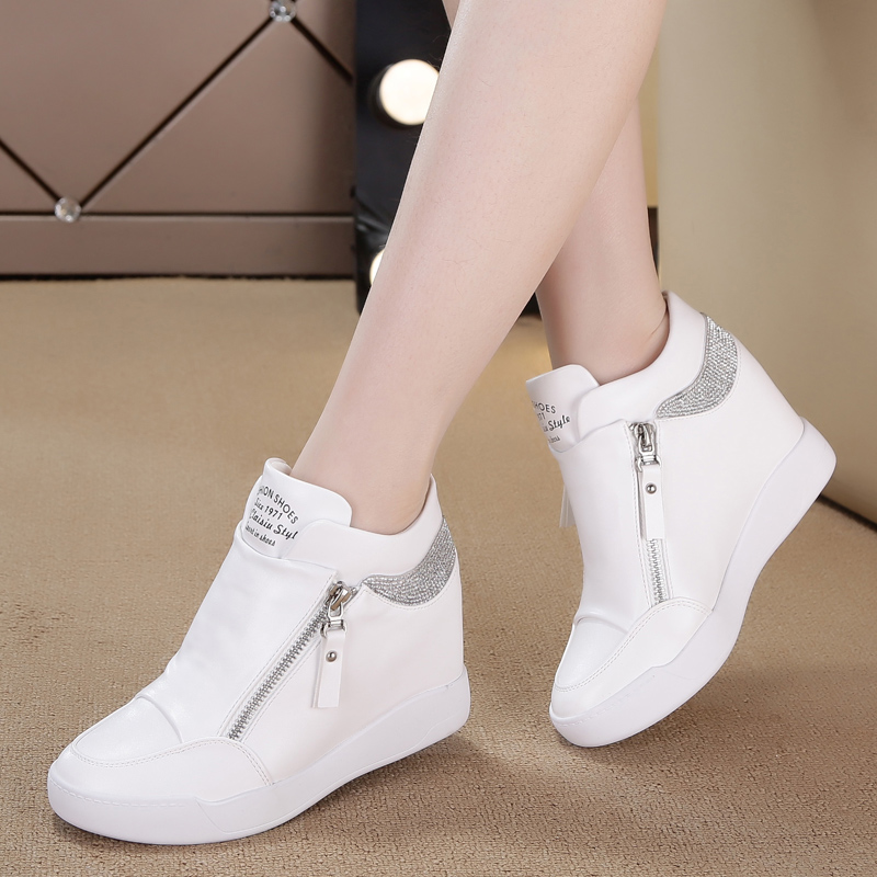 Sneakers Women Shoes PU Leather Height Increasing Shoes Women High Heel White Bling Zipper Platform Wedge Sneakers Ladies Shoes