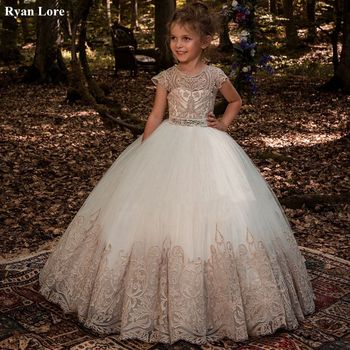Ball Gown Flower Girl Dresses 2020 Appliques Short Sleeves Kids Princess Dress For Weddings First Communion Pageant Gowns - discount item  45% OFF Wedding Party Dress