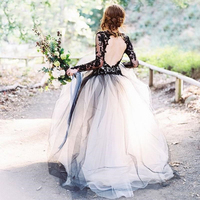 Ball Gown Wedding Dresses Black Lace Long Sleeve Backless Vintage Retro Bridal Gowns Customize Plus Size