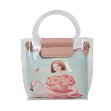 Transparent bag spring and summer new trend fashion cartoon jelly wild cute portable crossbody