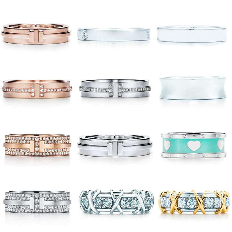 TFV High Quality TIF Original 925 Sterling Silver Simple Elegant Classic Ring Series Flat Ring DIY Jewelry For Women Wholesale