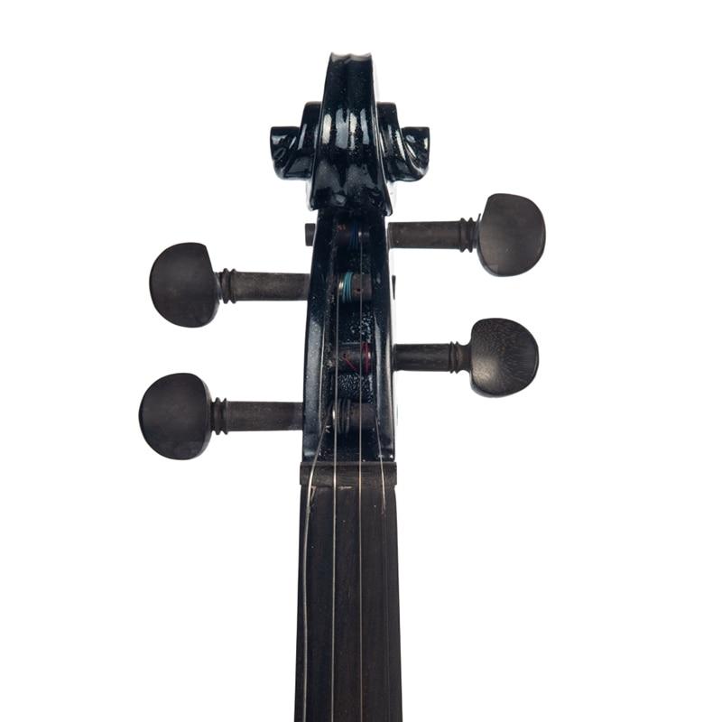 Violon électrique chaud 4/4 pleine taille violon avec étui arc écouteur colophane ensemble noir nouveau - 5