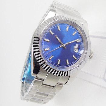 36MM niebieska sterylna tarcza szafirowe szkło data mechaniczna liczba świetlna 21 klejnotów MIYOTA 8215 ruch automatyczny zegarek męski tanie i dobre opinie PaGeFelix 5Bar CN (pochodzenie) Zapięcie bransolety simple Mechaniczna nakręcana wskazówka Samoczynny naciąg 22cm STAINLESS STEEL