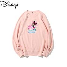 Original Disney Minnie Mickey Round Neck Couple Tops Solid Color Sweater Multicolor Hoodie Streetwear