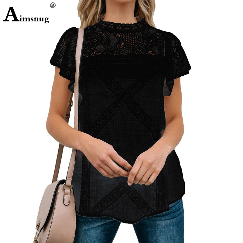 Hd073a3fd95cf4e17b5d75ad0077f7942c - Aimsnug Women White Elegant T-shirt Lace Patchwork Female O-neck Hollow Out Shirt Summer New Solid Casual Women's Tops