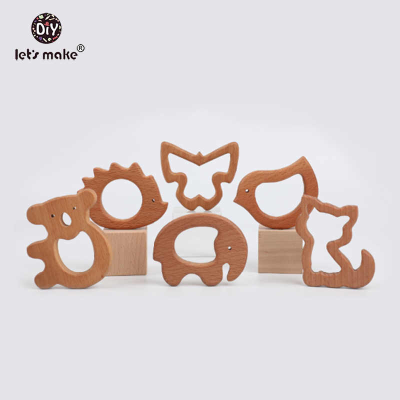 Let's Make 10pcs Beech Olive Oil Wooden Animal Elephant Koala Butterfly Hippo Hedgehog Bird Cat Baby Teether Bpa Free Toys