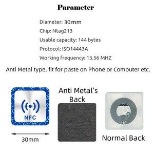 Image 2 - 6 قطعة NFC Ntag213 العلامة ملصق Ntag 213 لهواوي 13.56MHz العالمي تسمية تتفاعل مفتاح رمز دورية خفيفة