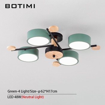 BOTIMI Indoor LED Chandelier For Master Bedroom Modern Wooden Study Room Lustres Ceiling Mounted Living Room Chandeliers 8