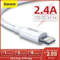 Baseus-Cable USB de carga rápida para móvil, Cable de sincronización de datos para iPhone 11 Pro 8 X Xr, 2.4A, 2 unidades