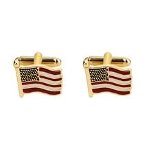 High quality fashion men's shirts Cufflinks American flag sleeve button brass Cufflinks wholesale and retail brass rotating geometry cufflinks brown pair