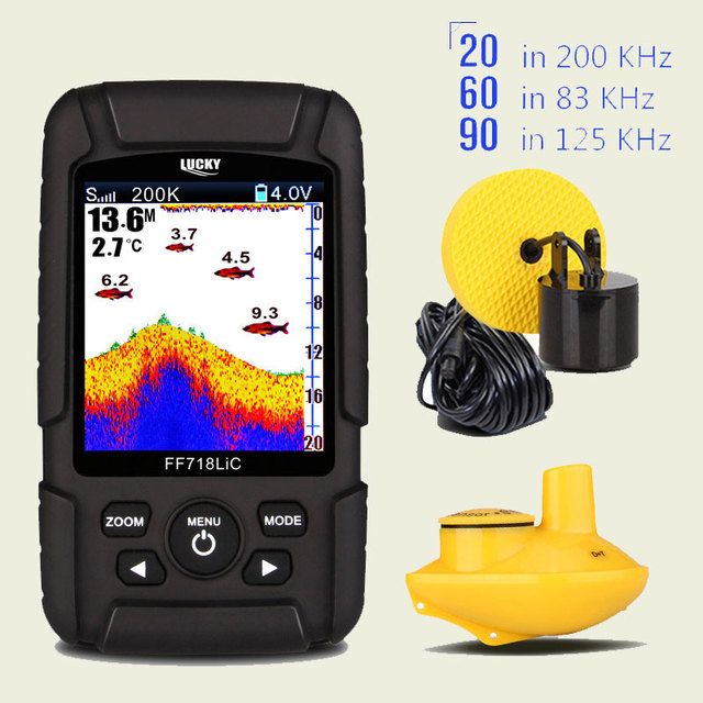 Moniteur portatif chanceux de détecteur de poisson 2 dans 1 200KHz/83KHz double fréquence de Sonar 328ft/100m profondeur de détection écho son FF718LiCD