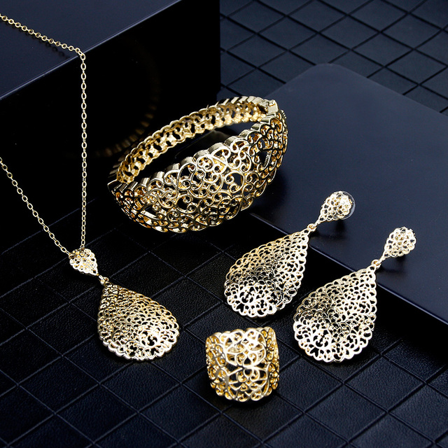 Sunspicems 2020 cor do ouro metal árabe conjunto de jóias oco pulseira brinco colar anel casamento bijoux argélia dubai nupcial presentes 2