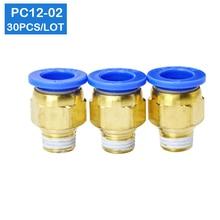 Alta Calidad 30 Uds BSPT PC12 02, 12mm a 1/4 conectores neumáticos macho rectos accesorios de un solo toque