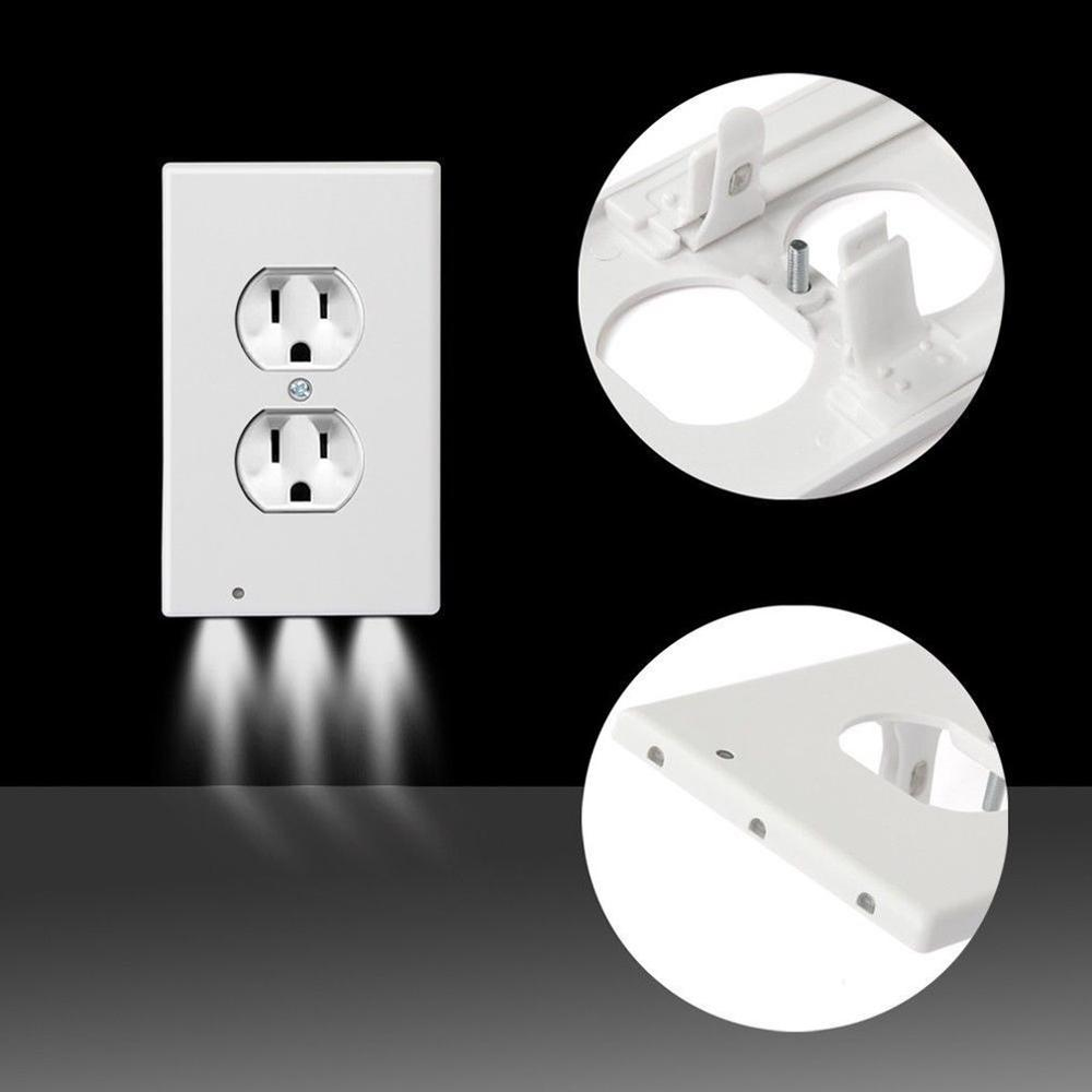Hallway Emergency Lamp Outlet Cover Light Sensor Angel Outlet Wall Plate With Led Night Lights Bedroom Bathroom Night Lamp