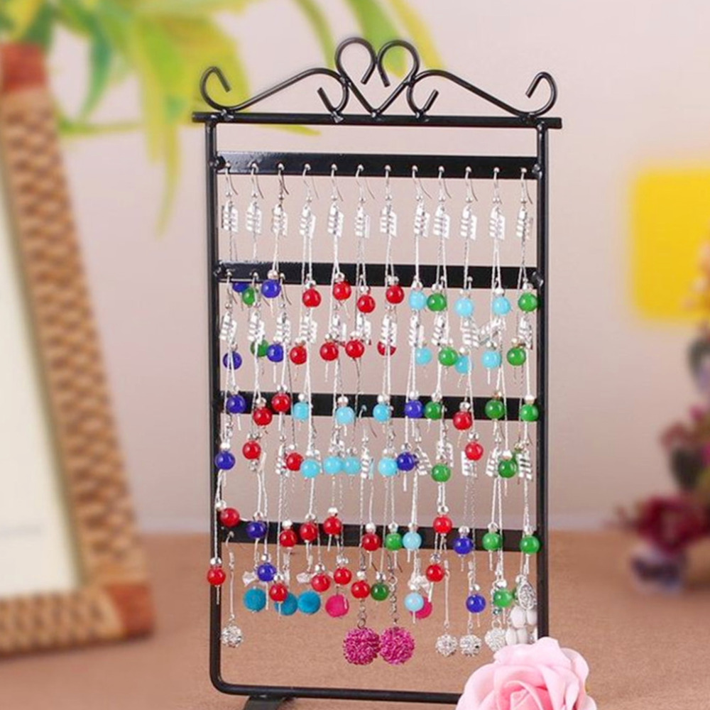 48 Hole Earrings Holder Ear Studs Display Rack Metal Jewelry Holder Stand Showcase Pink 295*160mm Display Cases