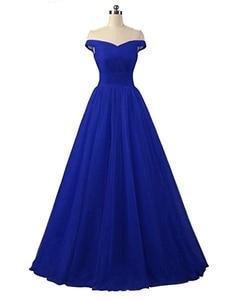 Image 3 - Angelsbridep Short Sleeve Tulle Long Evening Dress 2020 Strapless Pleat Womens Dress Vestidos De Festa Formal Party Gown Lace up