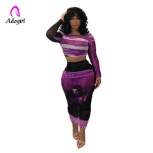 Purple Mesh 2 Piece Set Sexy Women Club Party Skirt Set Long Sleeve Crop Top and Midi Skirt Bodycon See Through Autumn Outfits see through stripe mesh skirt