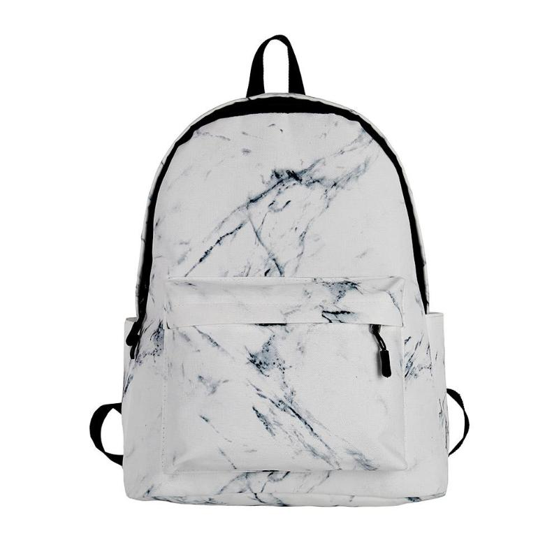 Fashion Teenager Backpack Boys Girls Marble Stone Print Backpack Rucksack Canvas Shoulder School Backpack PU Bag Mochila Senhora