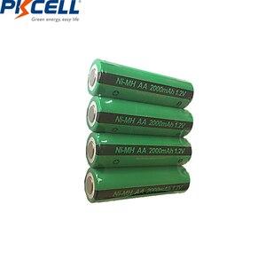 Image 1 - 4 adet PKCELL AA şarj edilebilir piller Ni MH 2000mAh 1.2V NiMH sanayi pil Bateria düz üst