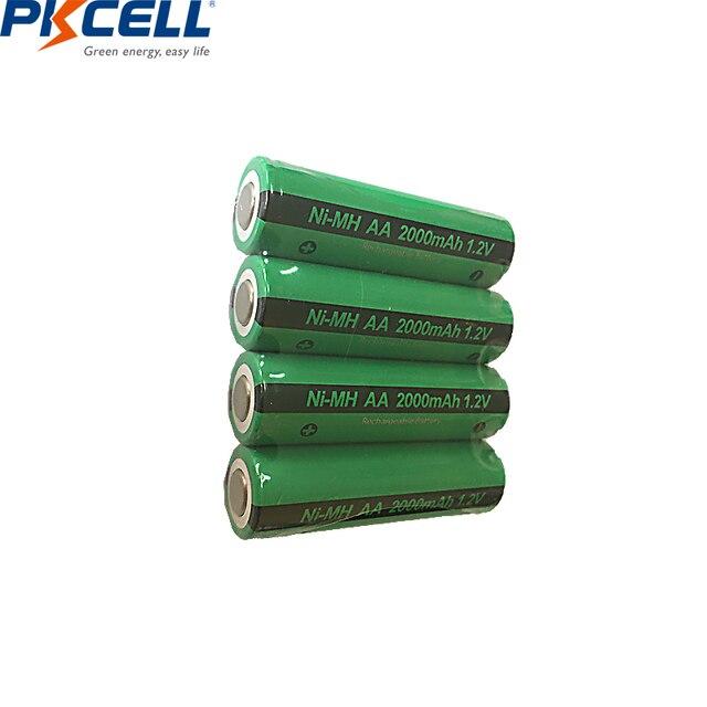 4 adet PKCELL AA şarj edilebilir piller Ni MH 2000mAh 1.2V NiMH sanayi pil Bateria düz üst