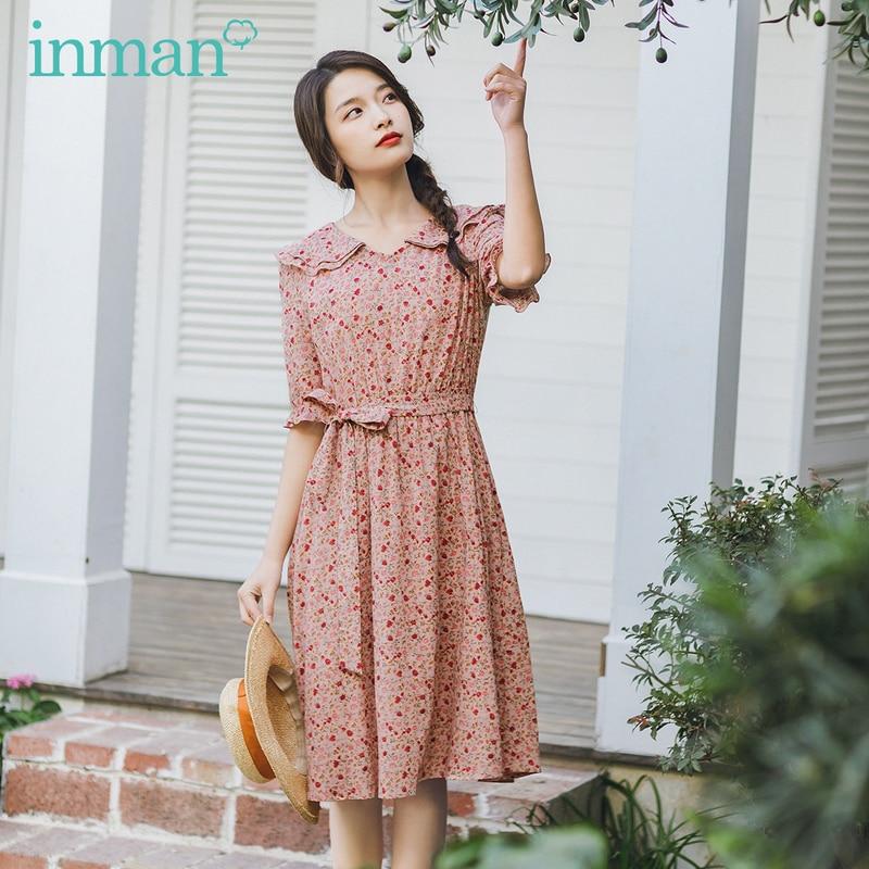 INMAN Summer New Arrival Romantic Style Half Elastic Sleeve Waist Tie Lotus V Neck Collar Cotton Floral Dresses