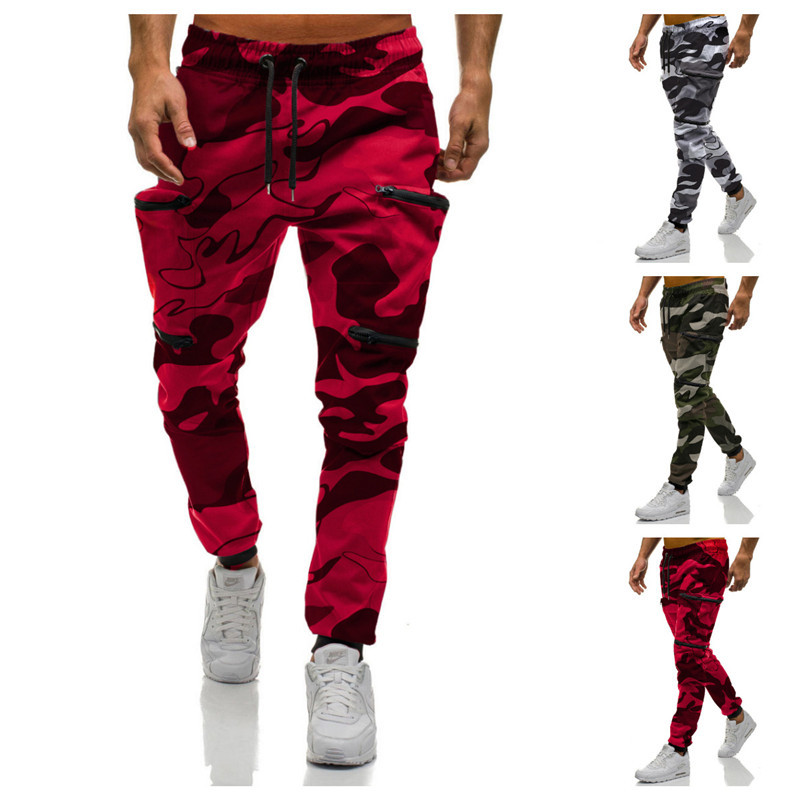 2019 New Red Camouflage Multi-Pockets Cargo Pants Mens Joggers Cotton Harem Pants Hip Hop Trousers Streetwear XXL