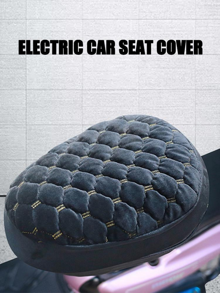 Motorcycle Seat Cover Plush Warm-keeping Soft Seat Protector For Electric Scooter Black Warm Velvet Seat Cover Motocycle