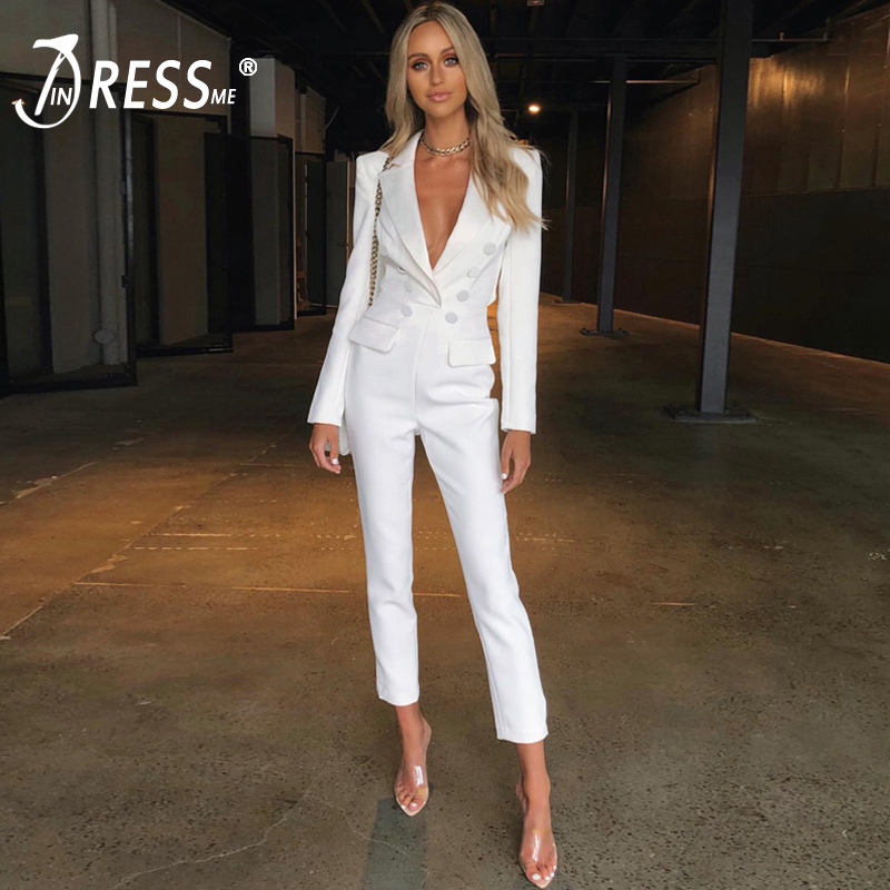 INDRESSME 2019 Autumn New Fashion Women Sexy Vestidos Office Lady V Neck Long Sleeve Backless Button Jumpsuit Party Jumpsuit