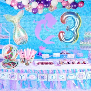 Mermaid Birthday Party Decoration Tableware Under The Sea Party Little Mermaid Supplies Kids Birthday Party Decor Number Balloon