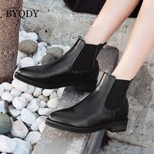 Женские ботинки челси на массивном каблуке byqdy мягкие кожаные