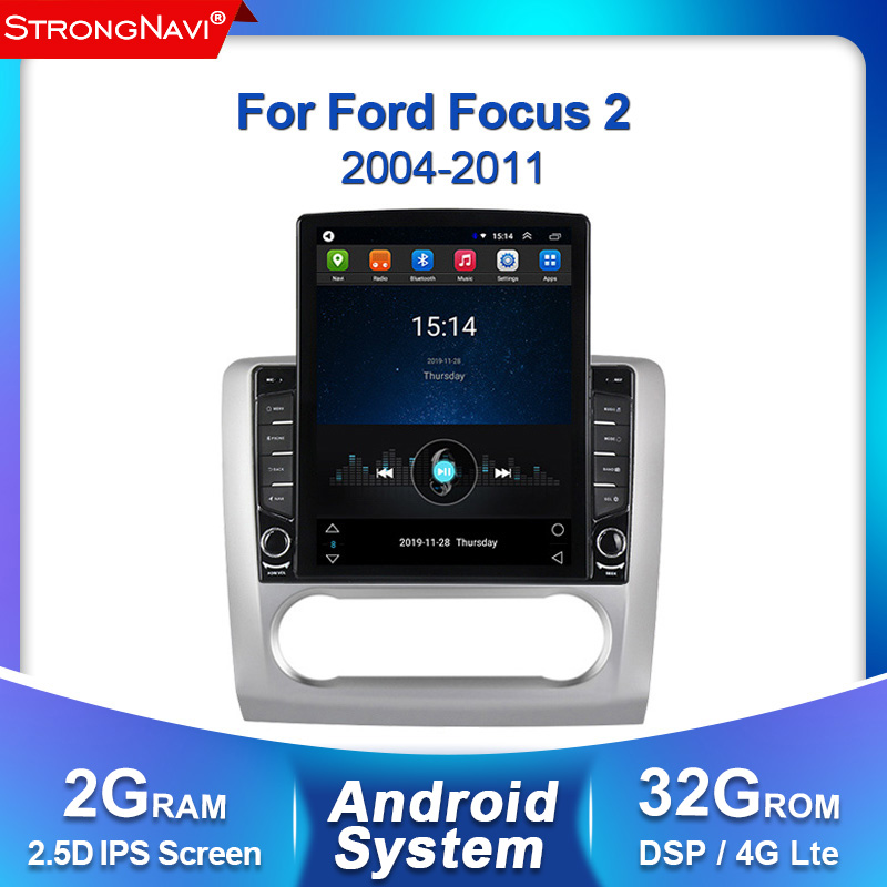 Tesla screen 2G+32G Android DSP IPS For <font><b>ford</b></font> <font><b>focus</b></font> 2 <font><b>Mk2</b></font> 2004-2011 Car Radio <font><b>Multimedia</b></font> Video Player Navigatation GPS Radio WIFI image