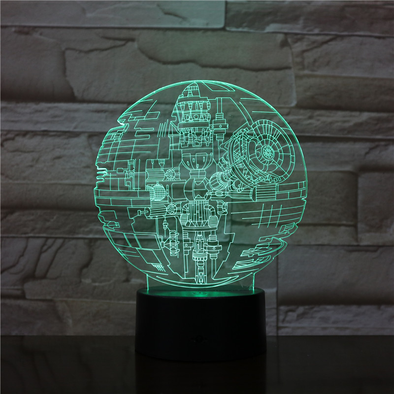 Star Wars Death Star 3D Lamp Led Acrylic Visual Stereo Fighter 3D Night Light Touch Sensor LED Table Lamp For Children Gift 2891