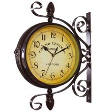 New European Style Vintage Clock Innovative Fashionable Double Sided Wall Clock for Home decoration
