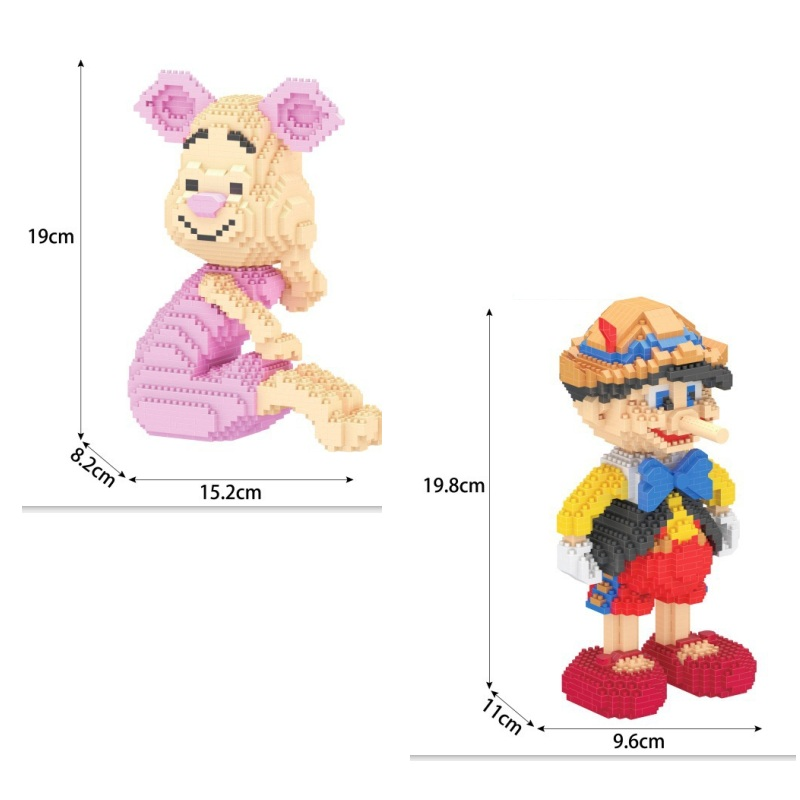 Mini blocks Cute Pink Pig Model Building Toys Educational Intelligence Bricks Pinocchio for Children Gift Girls Present
